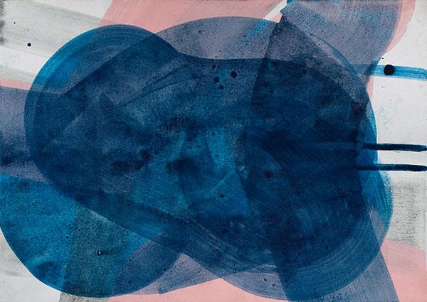 aqua IV, 2009, Pigmente, Acryl auf Farbpapier, 28 x 38 cm