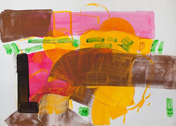 Das Knie der Fräulein Bell, 2013, Pigmente, Tusche auf Büttenpapier, 70 x 90 cm