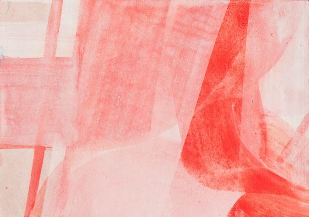 Sabine Herrmann, excentric red II, 2009, Pigmente Acryl auf Farbpapier, 30 x 20 cm