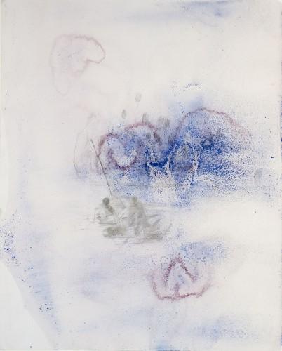 Sabine Herrmann, Lampedusa, 2011, Pigm., Acryl, Bleistift/Bütten, 60x44cm