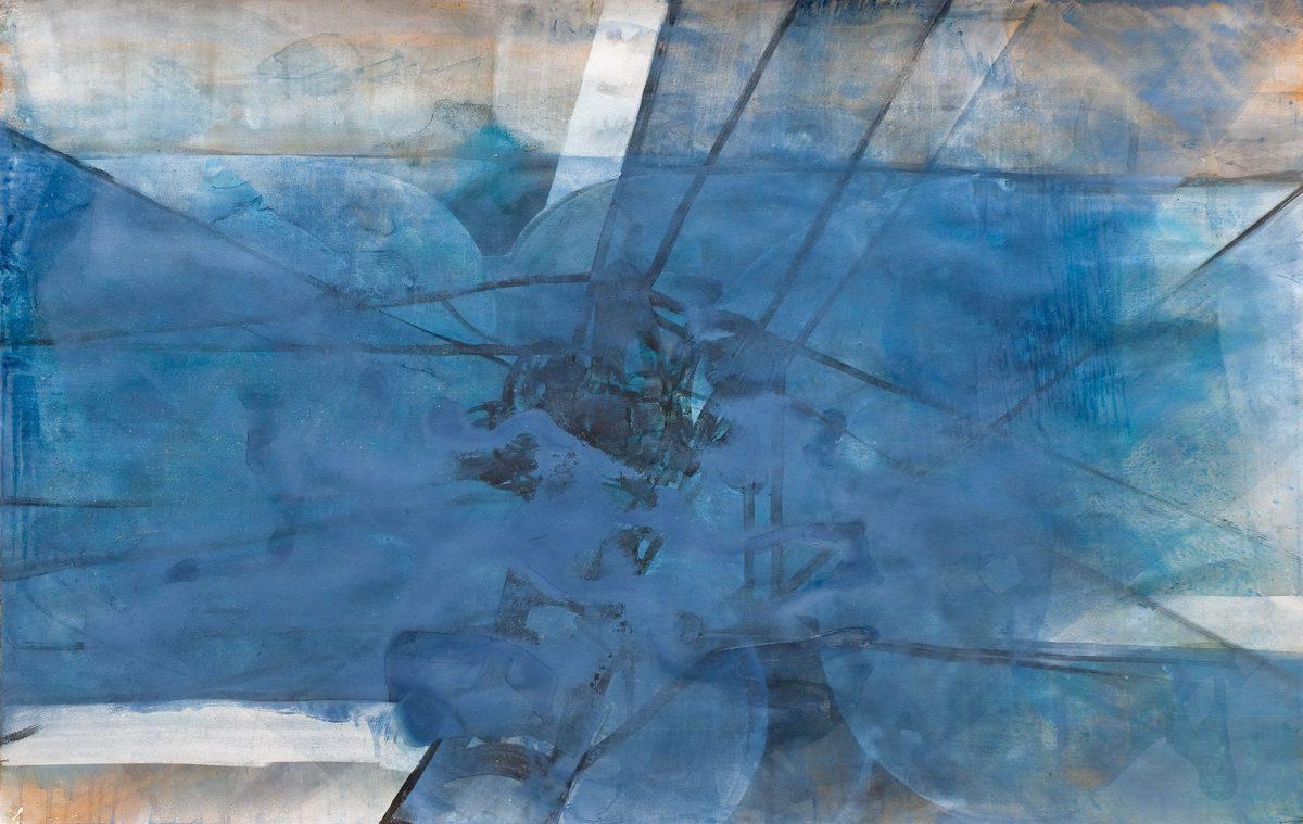Sabine Herrmann, regen, 2011, Pigmente, Acryl auf Bütten, 104x164cm